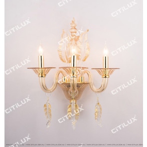 European Golden Leaf Glass Crystal Chandelier Citilux