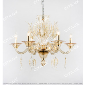 European Gold Leaf Glass Crystal Chandelier Small Citilux