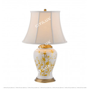Chinese Style White Gold Ceramic Table Lamp Citilux