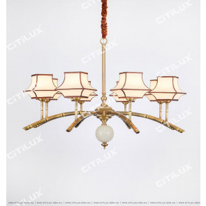 Chinese-Style Copper Bamboo Zen Zen Single-Tier Large Chandelier Citilux