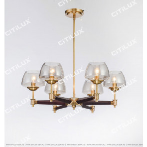 Simple American All-Copper Wood Single-Tier Small Chandelier Citilux