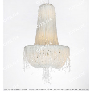 European Silver Grey Crystal Chandelier Citilux