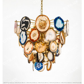 Colored Natural Agate Stainless Steel Titanium Chandelier Citilux