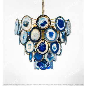 Blue Natural Agate Stainless Steel Titanium Chandelier Citilux