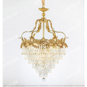 French Luxury Crystal Copper Chandelier Citilux