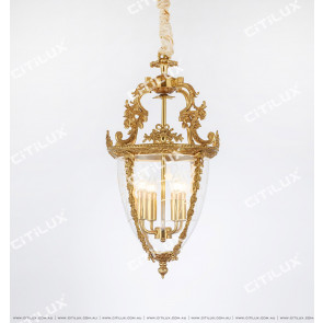 French Copper Classic Glass Chandelier Citilux