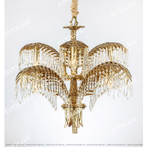 French Copper Leaf Crystal Copper 9 Lights Chandelier Citilux