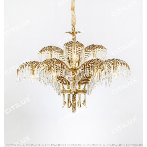French Copper Leaf Crystal Copper Chandelier Citilux