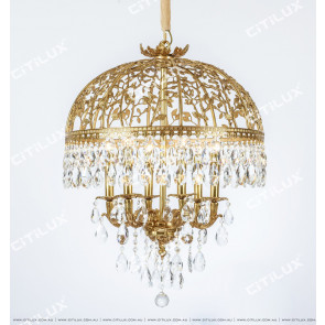 French Vine Cage Crystal Copper Chandelier Citilux