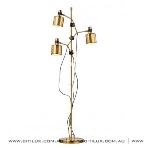 Black Gold Hollow Modern Three-Headed Floor Lamp Citilux