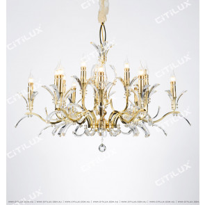 Modern American Vane K9 Crystal Single Tier Large Chandelier Citilux