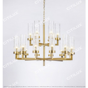 Modern Light Luxury Stainless Steel Double-Tier Large Chandelier Citilux