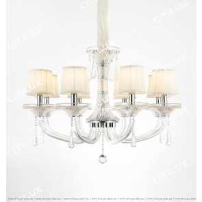 European Modern Minimalist Transparent Crystal Single-Tier Chandelier Citilux