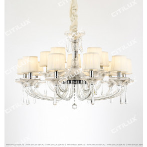 European Modern Minimalist Transparent Crystal Double Chandelier Citilux