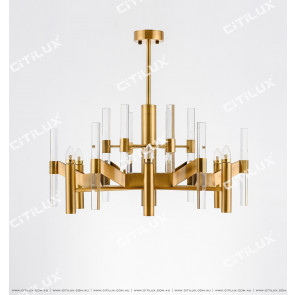 Modern Minimalist Geometric Antique Copper Chandelier Citilux