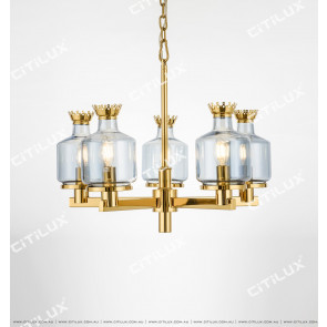 Modern Crown Blue Glass Small Chandelier Citilux