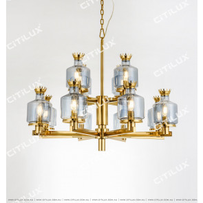 Modern Crown Blue Glass Large Chandelier Citilux
