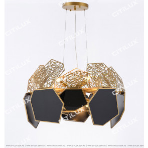 Postmodern Carved Black Glass Stainless Steel Chandelier Citilux