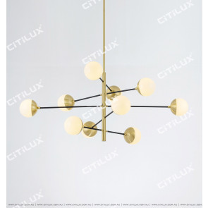 Modern Black Gold Balance Ball Chandelier Citilux