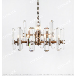 Modern Light Luxury Crystal Stainless Steel Double Chandelier Citilux