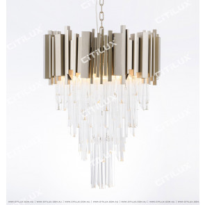 Vintage Frosted Champagne Modern Glass Chandelier Small Citilux