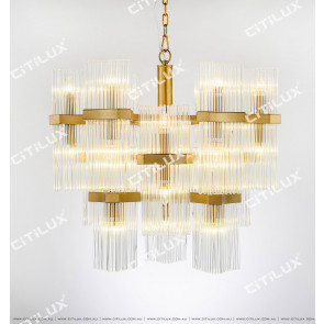 Modern Stainless Steel Two-Way Glass Chandelier Citilux
