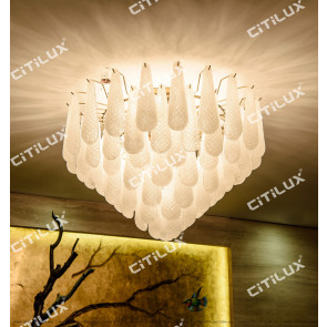 Modern Sandblasted Glass Large Ceiling Lamp Citilux