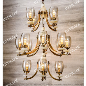 Modern Chinese Copper Amber colour Pendant Light Citilux
