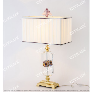 Chinese Crystal Glass Carved Copper Table Lamp Citilux
