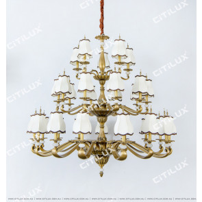 Full Copper Chinese Palace Hollow Chandelier Citilux