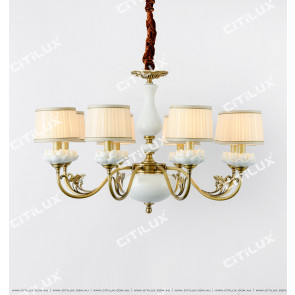 Chinese Style Copper White Lotus Large Chandelier Citilux