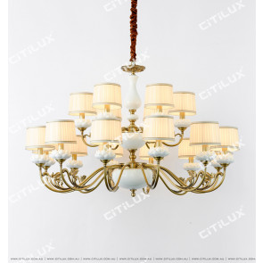 Chinese Copper White Lotus Double Chandelier Citilux
