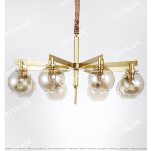 Modern All-Copper Cognac Bulb Large Chandelier Citilux