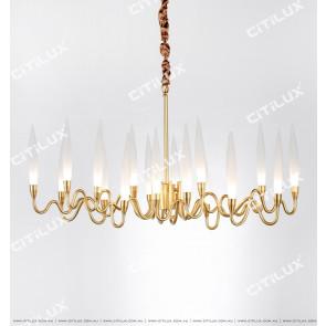 Modern Copper Art Glass Chandelier Citilux