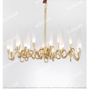 Modern Copper Art Glass Large Chandelier Citilux