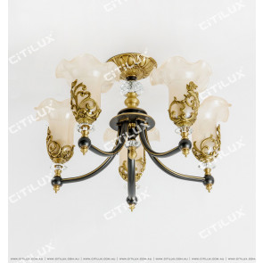 Copper Noble European Glass Lace Ceiling Lamp Citilux