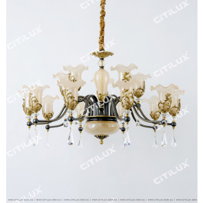 Copper Noble European Glass Lace Double Chandelier Citilux