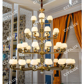 Chinese-Style Copper-Backed Engraving Four-Tier Chandelier Citilux