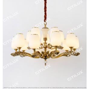 Chinese Style Copper Auspicious Cloud Retro Double Chandelier Citilux