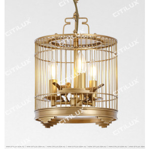 American Copper Bird Cage Chandelier Citilux