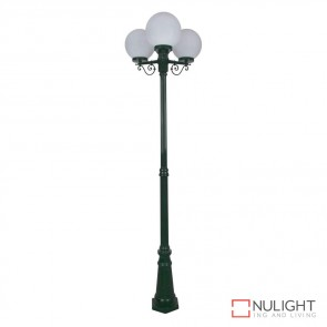 Gt 562 Siena Triple 25Cm Spheres Tall Post Green Finish E27 DOM