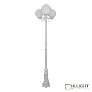 Gt 562 Siena Triple 25Cm Spheres Tall Post White Finish E27 DOM