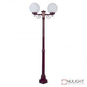 Gt 569 Siena Twin 25Cm Spheres Medium Post Burgundy Finish E27 DOM
