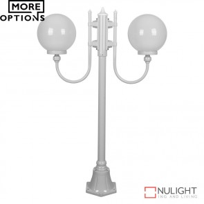 Gt 608 Lisbon Twin 25Cm Spheres Curved Arms Short Post Light E27 DOM