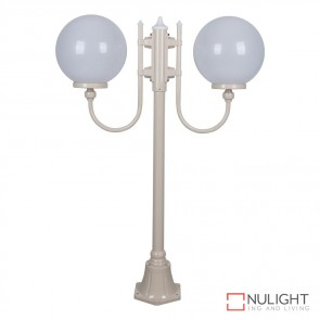 Gt 609 Lisbon Twin 30Cm Spheres Curved Arms Short Post Light Beige Finish E27 DOM
