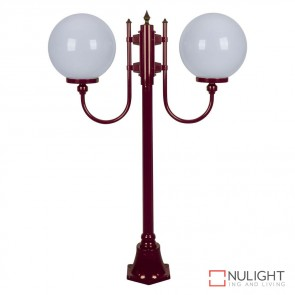 Gt 609 Lisbon Twin 30Cm Spheres Curved Arms Short Post Light Burgundy Finish E27 DOM