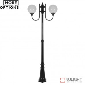 Gt 620 Lisbon Twin 25Cm Sphere Curved Arms Tall Post Light E27 DOM