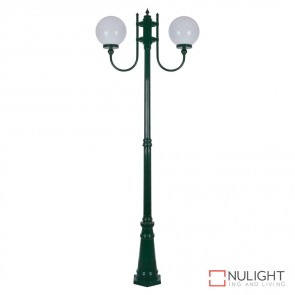 Gt 620 Lisbon Twin 25Cm Sphere Curved Arms Tall Post Light Green Finish E27 DOM