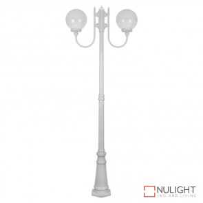 Gt 620 Lisbon Twin 25Cm Sphere Curved Arms Tall Post Light White Finish E27 DOM