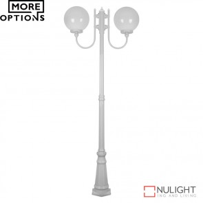 Gt 621 Lisbon Twin 30Cm Spheres Curved Arms Tall Post Light E27 DOM